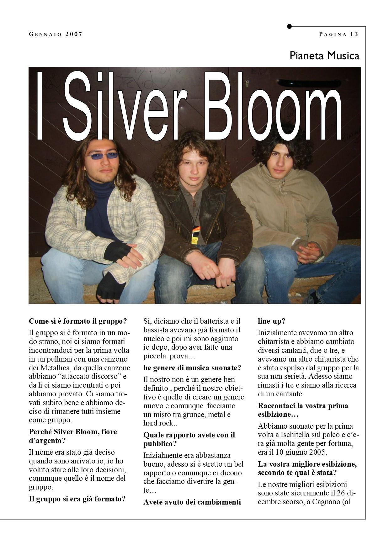 Fabio D'Errico con i Silver Bloom in un articolo di Schiamazzi del 2007