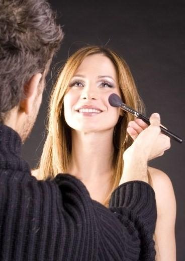 Valentina Olla nella fase 'make-up'